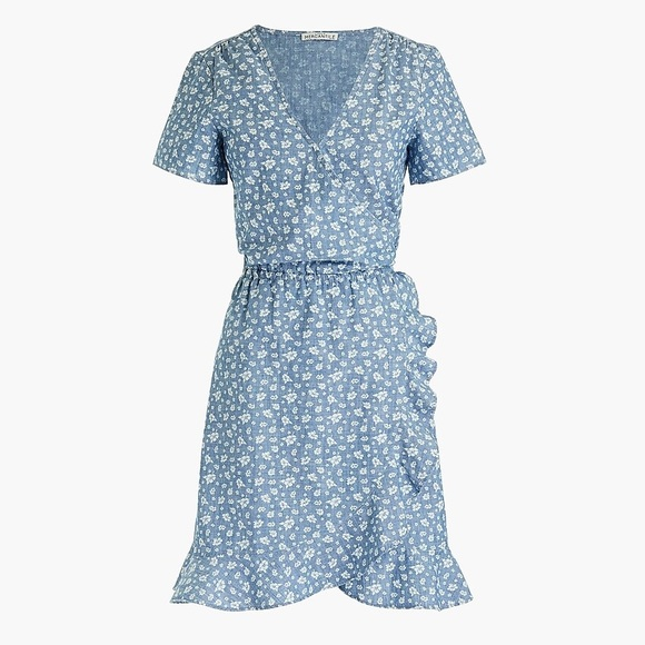 J. Crew Dresses & Skirts - NWT J. Crew Printed chambray faux-wrap dress